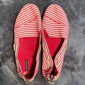 Red and white canvas Nautica espadrilles
